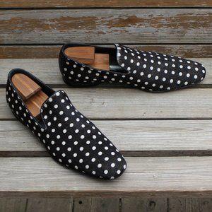 Donald J Pliner Fur-On Black & White Dot Loafer